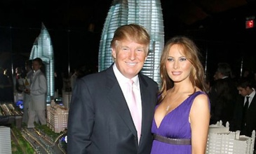 Republican Presidential hopeful Donald Trump and wife Melania infront of the Palm Jumeirah in Dubai, UAE. Sourced from The Gaurdian